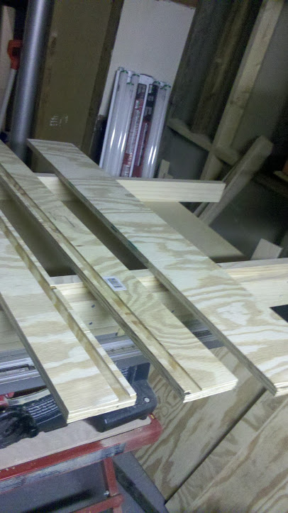 Planing sled components cut to size and dadoed