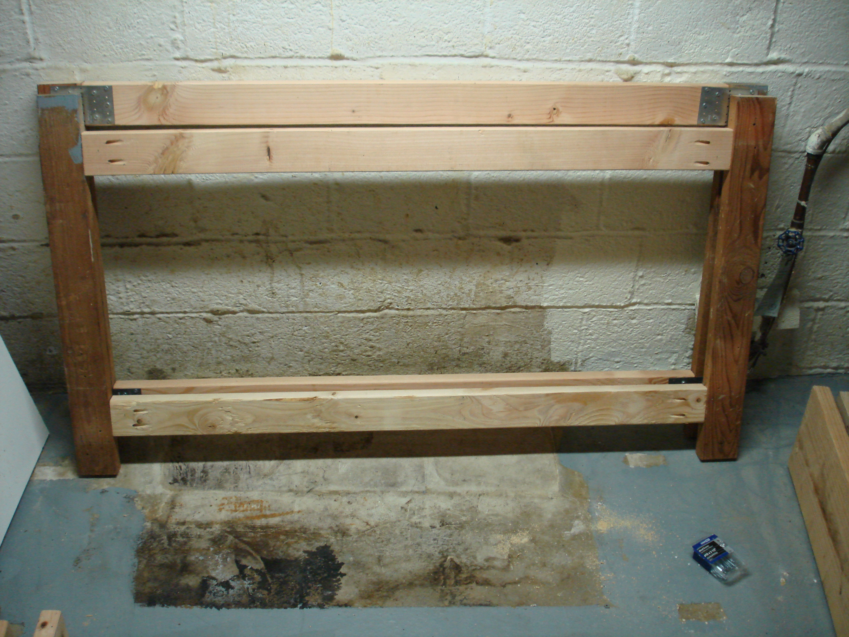 Here are the front and back frames.  The legs are salvaged from the old bench