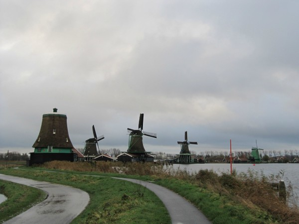 A series of active wind powered sawmills in the Netherlands